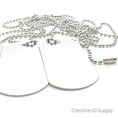LOT 100 BLANK STAINLESS STEEL DOG TAG  SHINY/MATTE WITH 100