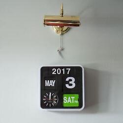 Karlsson Mini Flip White Clock Calendar Digital Stylish Designer Timepiece