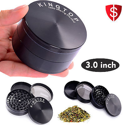 4 Piece 3 Inch Black Tobacco Herb Grinder Spice Herbal Zinc Alloy Smoke