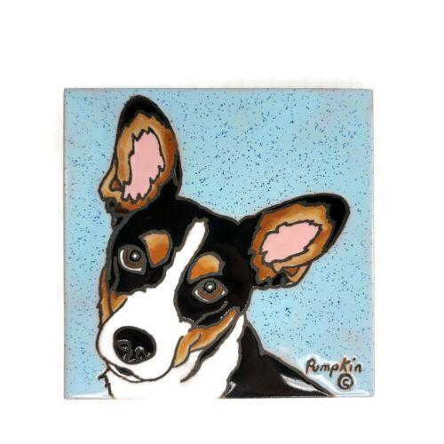 Rat Terrier Pumpkin Tile Hand Glazed Kiln Fired Ceramic New Mexico Hang Trivet