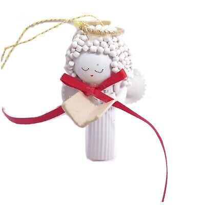 Vintage Hand Crafted White Singing ANGEL Christmas Tree Ornament Macaroni Noodle ()