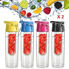 2 x Large 800ML Fruit Infusion Infusing Infuser Juice Water Bottle Sports Health