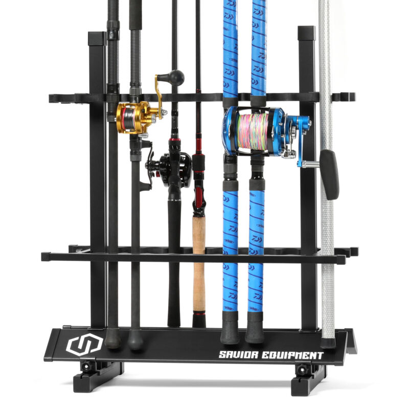 [SAVIOR] 24 Fishing Rod Rack Floor Stand Garage Pole Holder Display Organizer