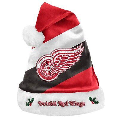 Detroit Red Wings Team Big Logo Holiday Plush Santa Hat NEW!