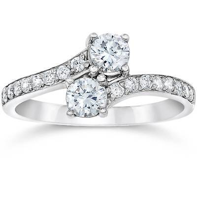 14k Wg Diamond Solitaire - SI1/G Forever Us Two Stone Round Diamond 1.00 Ct Solitaire Ring 14k White Gold