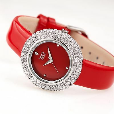 Women's Burgi BUR199RD Diamond Marker Swarovski Bezel Red Leather Strap Watch