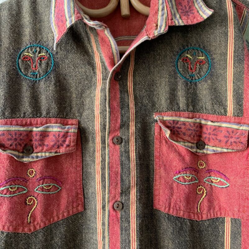 Vintage 60s 70s Womens Stripe Embroidered Face Line Art Shirt Hippy Western M