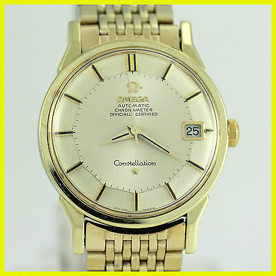 VINTAGE OMEGA CONSTELLATION 168005 PIEPAN 14K GOLD BEZEL SS AUTO MENS WATCH