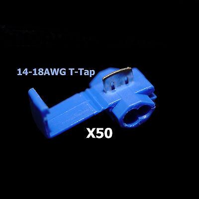 50x Blue 16-14 Awg Scotch Lock T Tap Car Audio Electronics Connectors Terminals