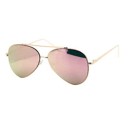 Pink Mirror Flat Lens Sunglasses Gold Metal Aviator Frame Womens Fashion