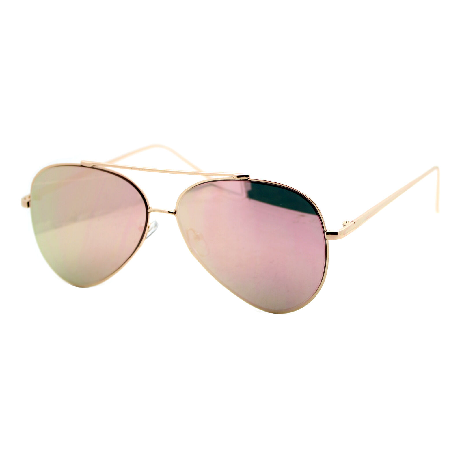 Pink Mirror Flat Lens Sunglasses Gold Metal Aviator Frame Wo