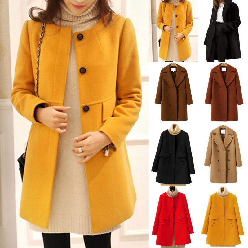 Women Winter Fall Duffle Coat Peacoat Jacket Ladies Button O