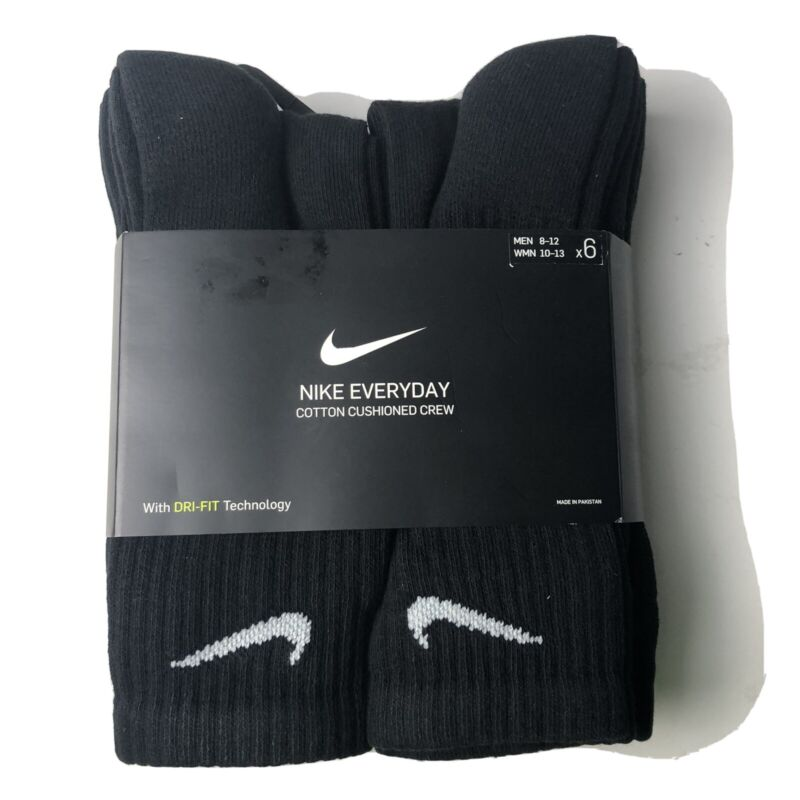 Nike Everyday Cotton Cushioned Crew Socks Black 6 Pair DRI-FIT Large Pack Men