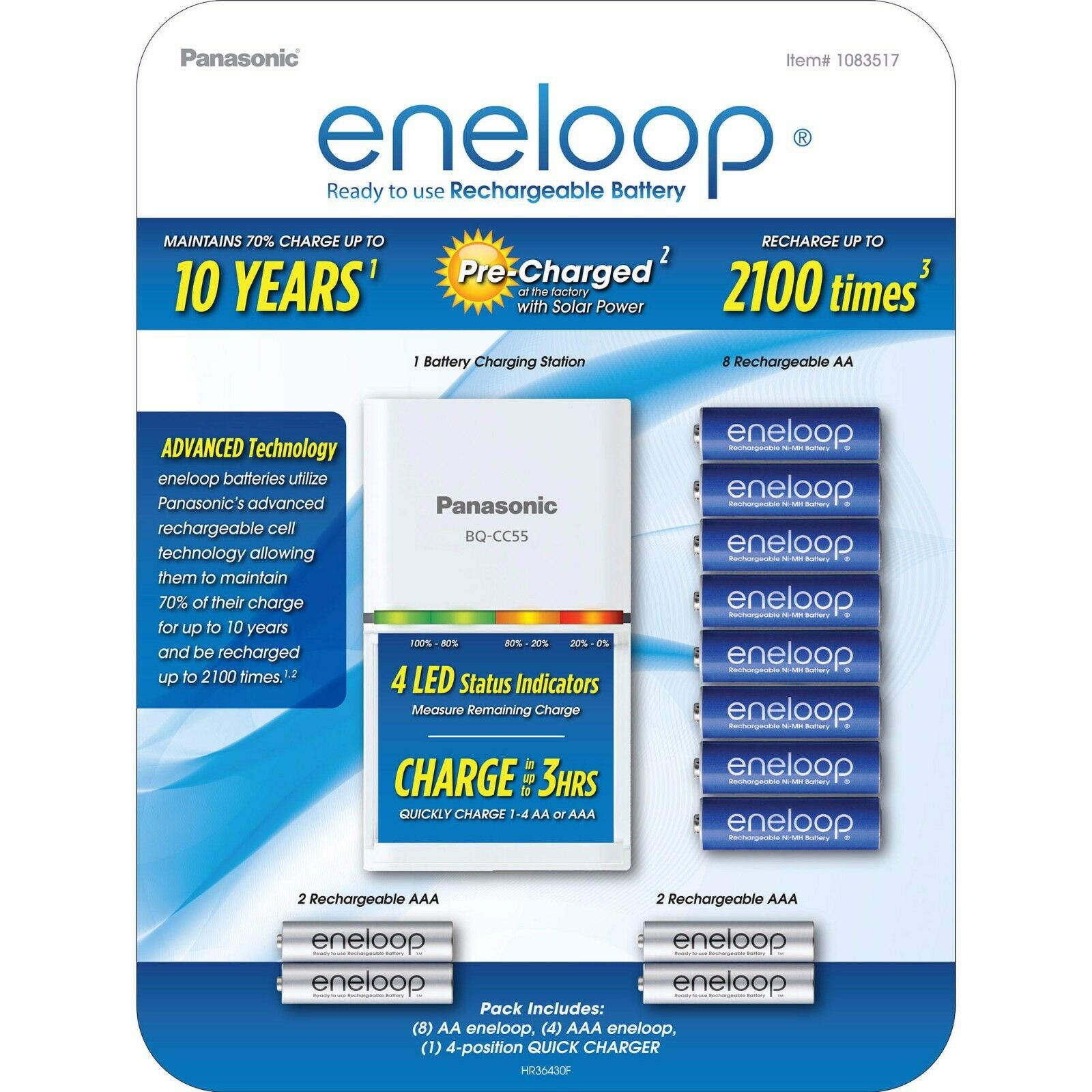 Panasonic Eneloop Rechargeable 12 Battery Kit 8 AA, 4 AAA An