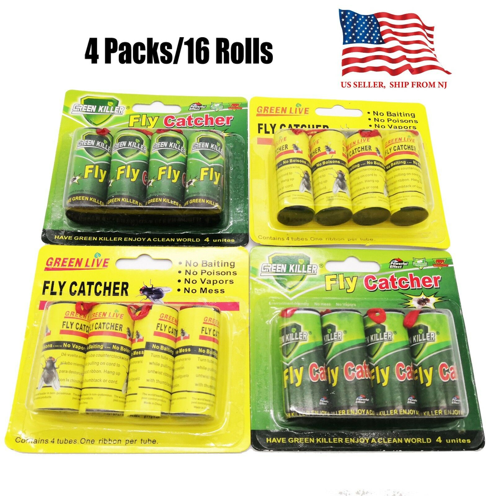 16 Rolls Sticky Fly Trap Paper Insect Bug Catcher Strip Fly Sticker non toxic Home & Garden
