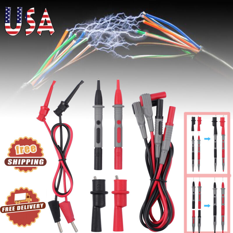 Electronic Multimeter Test Leads Kit with Alligator Clips Plunger Hooks Probes
