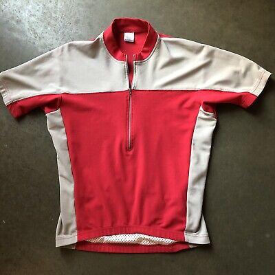 f6111010 Men's Vintage Patagonia USA Gray Red Quarter 1/2 Zip Biking Cycling Jersey  Sz M
