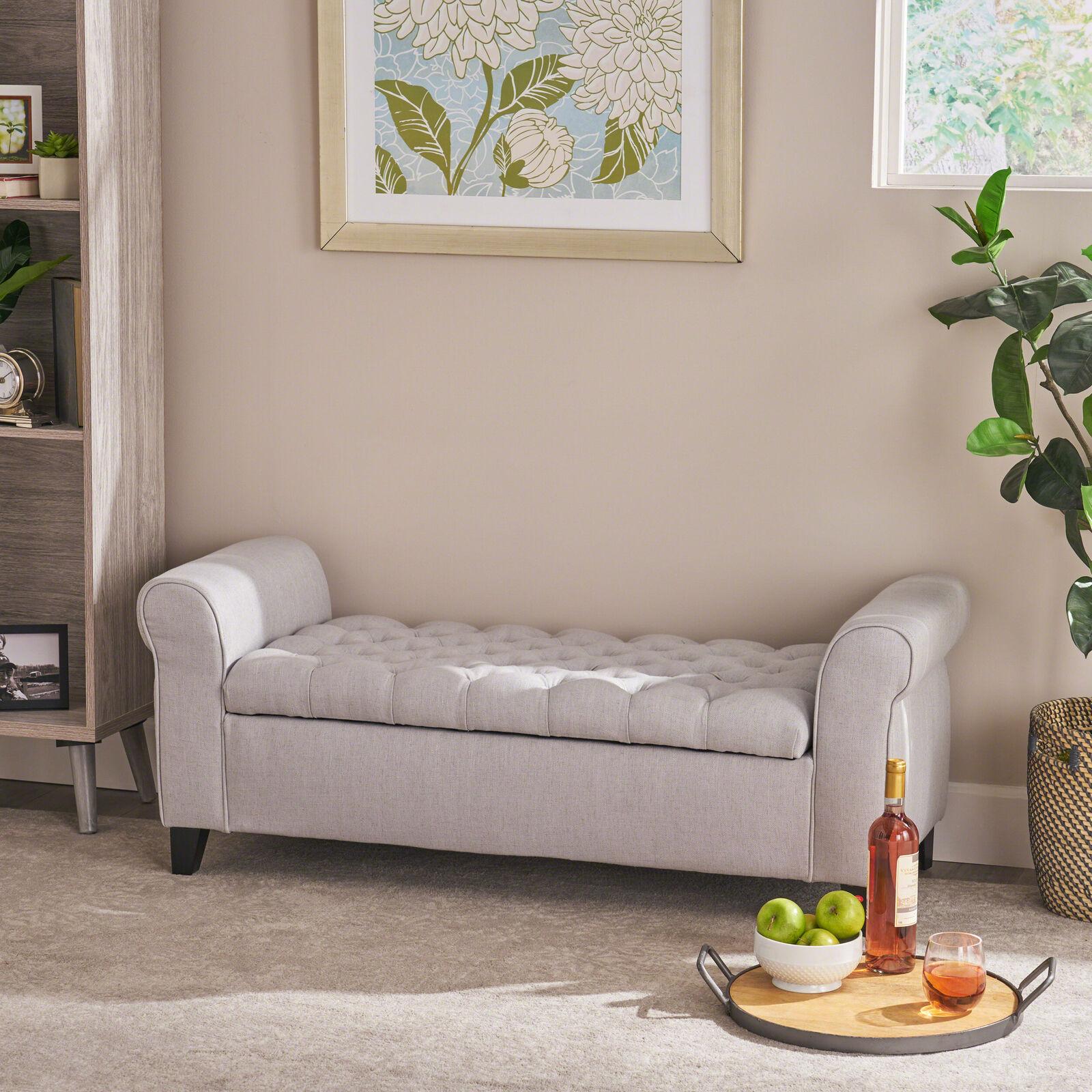 Lamara Contemporary Rolled Arm Fabric Storage Ottoman Bench Benches, Stools & Bar Stools