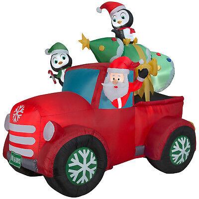 Christmas Santa Pickup Truck Penguins Tree Airblown Inflatable Yard Decoration