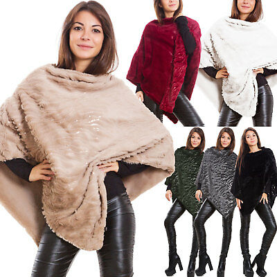 Poncho donna coprispalle mantella sciarpa eco pelliccia morbido double face S2