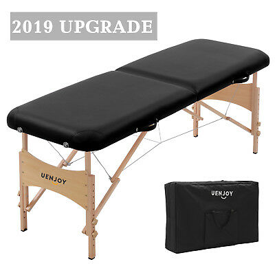 """73""""L Pro Fold Portable Massage Table Facial SPA Bed Tattoo w/ Carry Bag Black"""
