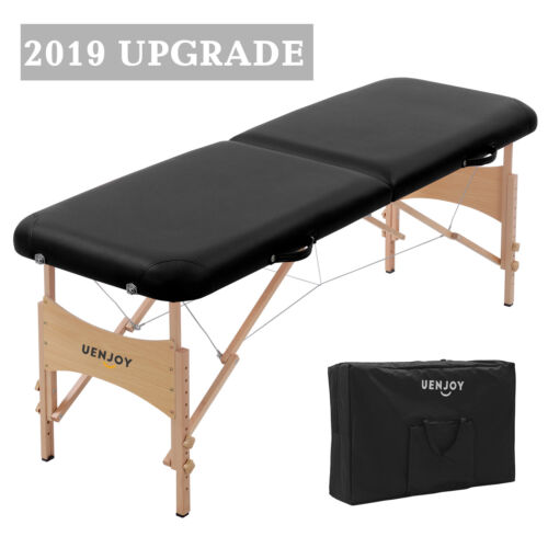 "73""L Pro Fold Portable Massage Table Facial SPA Bed Tattoo w/ Carry Bag Black"