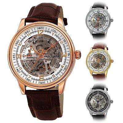 Akribos Xxiv Mens Automatic Watch - Men's Akribos XXIV AK1073 'Saturnos' Skeleton Automatic Alligator Leather Watch
