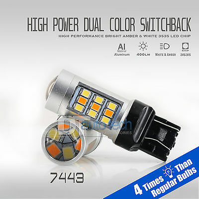 2X High Power 3535 Chip 7443 Switchback LED Turn Signal Light Bulbs+Resistors