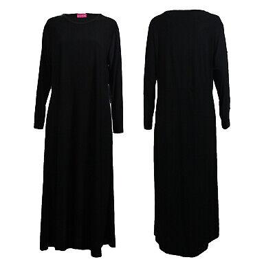 Plain Black Abaya Pockets Women Maxi Long Dress line Jilbab Size 10-12 to 14-16