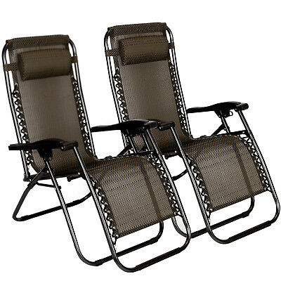 Reclining 2 PCS Zero Gravity Beach Chairs Folding Lounge Portable Outdoor Brown ()
