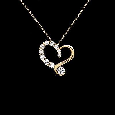 Diamond Open Heart Pendant - Open Heart Pendant 1ct.T.W. Created Diamond 14K Solid Yellow Gold Journey Charm