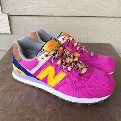 New Balance 574 Women's Lifestyle Athletic Shoes Size 10 Magenta Yellow Sneaker
