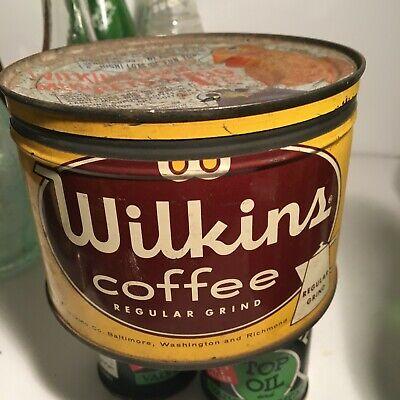 Vintage 40's Wilkins Coffee Key Wind Tin Can Baltimore Washington and Richmond