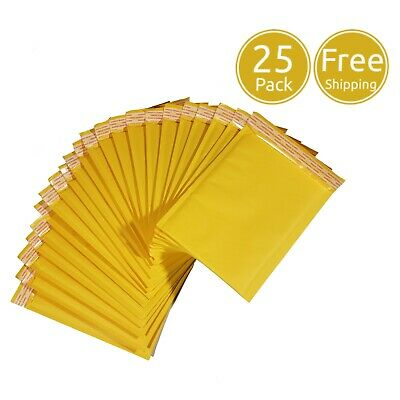 25 Pack 6 X 8 Inches Usable Size Yellow Kraft Padded Bubble Mailers Envelopes