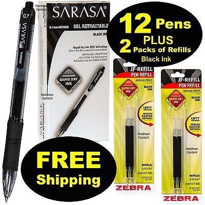 1 Dozen Zebra Sarasa 0.7 Black Gel Ink Retractable Pens With 2 Packs Of Refills