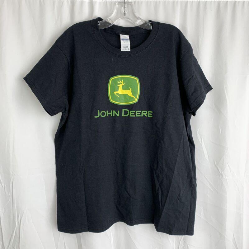 John Deere Ladies Black Logo T-Shirt Size L NWT