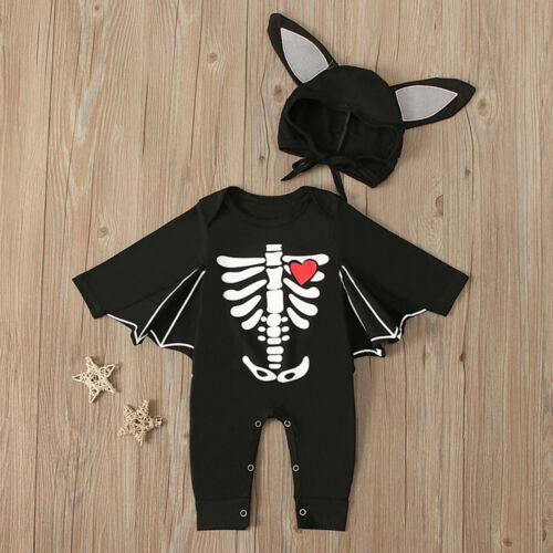 NEW Baby Boys Bat Long Sleeve Halloween Romper Jumpsuit Costume