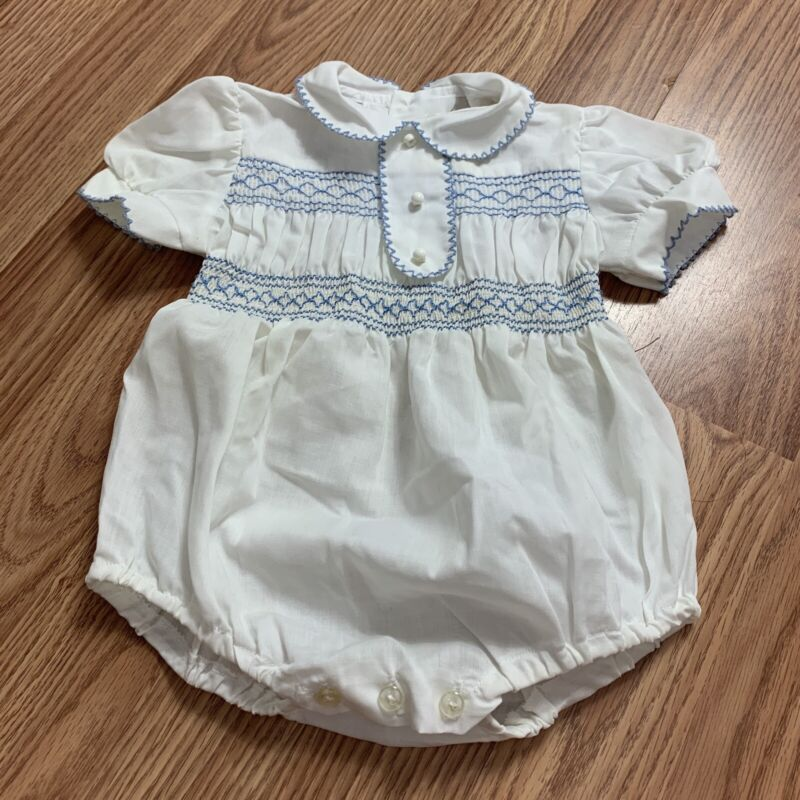 Vintage Baby Blue White Infant Bubble Romber 6/12months Smocked