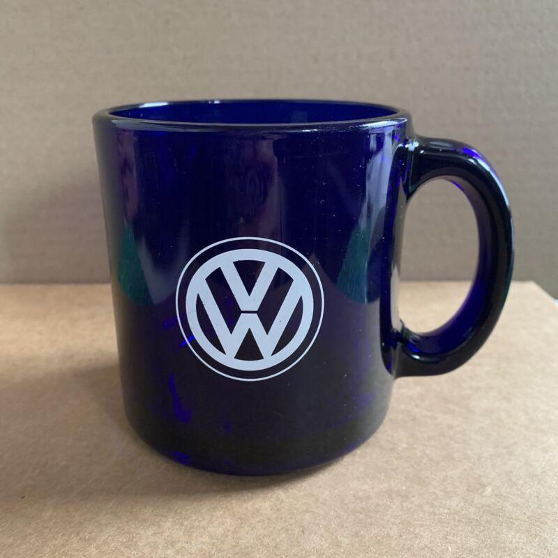 Volkswagen VW Cobalt Blue Glass Coffee Mug Dealer Promo 12 Oz