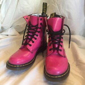 Dr. Martens Pink Patent Leather Boots - Sz UK6, EUR 39, US W8