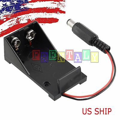 9v Volt Battery Holder Box Case Plug 5.5x2.1 For Arduino Breadboard Power Supply