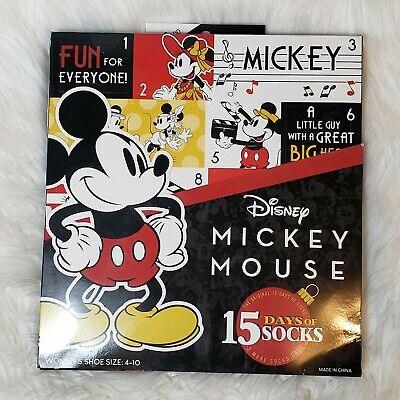 "Disney Mickey Mouse '15 Days of Socks"" Advent Calendar Women's Shoe Size 4-10"