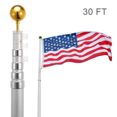 30FT Flag Pole Telescopic Aluminum Flagpole Gold Ball Kit Fl