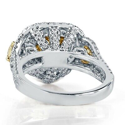 GIA Certified 3.60 Ct Yellow Heart Shaped Diamond Halo Engagement Ring 18k Gold 5