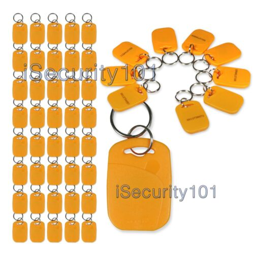 50x RFID 125Khz Proximity ID Card Yellow Key Ring Fob Tag for Entry Home Office
