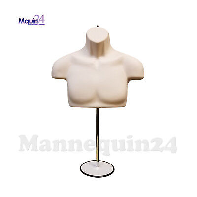 Male Torso Mannequin Form - Flesh Chest Long With Metal Stand