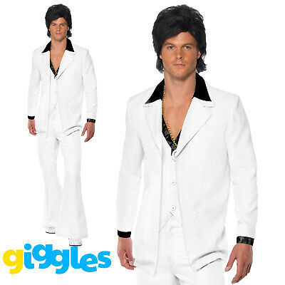 Mens 70s Disco Suit Retro Saturday Night Fever John Travolta Fancy Dress Outfit - 70s Clothes Men