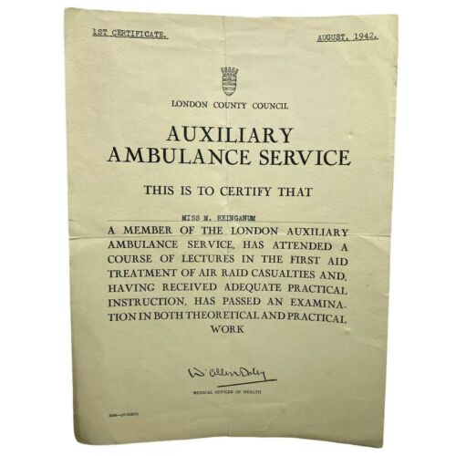 Vtg 1942 WWII Era AUXILIARY AMBULANCE SERVICE London County Council Certificate
