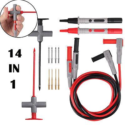 Multimeter Test Lead Kit Power Probe Wire-piercing Probe Clip W 4mm Banana Seat