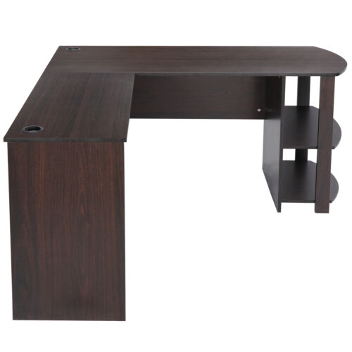 Computer Desk L-Shaped With 2 Open Storage Bookshelves Workstation Home office Furniture